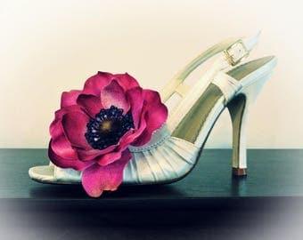 Shoe Clips - Fuchsia Anemone Flower Shoe Clips