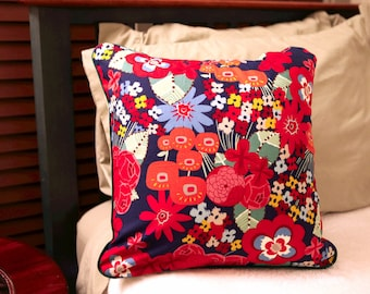 Polka Dot Flower Throw Pillow Cover 18x18