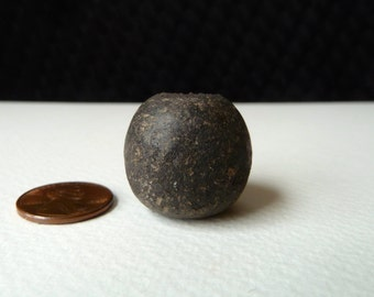 Antique African Clay Bead - Old Spindle Whorl Bead - 23x24mm - Authentic (sb21)