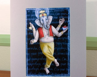 Ganesha Dancing 2 Matted Print 11 x 14