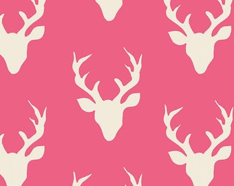 Camellia Pink and Cream Deer Head Antler Jersey Knit Fabric, Hello Bear by Bonnie Christine for Art Gallery Fabrics, 1 yard Jersey KNIT