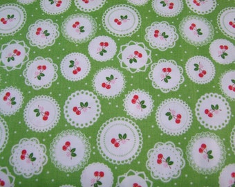Green Cherry Doily Fabric by the Yard Lori Holt Sew Cherry 2