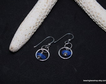 Sea Glass Earrings - Lake Erie Jewelry - Beach Glass Earrings - RARE Cobalt Blue Earrings - FREE Shipping inside the United States