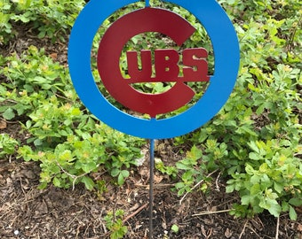 Chicago Cubs yard garden stake