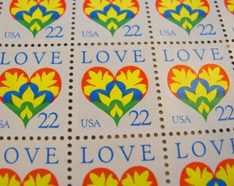 Majestic Heart 70 UNused US Vintage Postage Stamps Love Valentine's Day Save the Date Wedding Postage Scrapbooking LGBT Gay Pride Equality