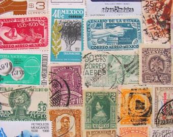 Mucho Gusto 50 Vintage Mexican Postage Stamps Mexico Estados Unidos Mexicanos Cinco de Mayo Latin America Aztec Hispanic Worldwide Philately