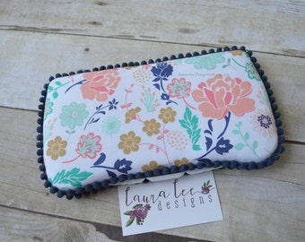 READY TO SHIP, Navy Peach and Aqua Blue Floral Travel Baby Wipe Case, Personalized, Baby Shower Gift, Wipe Holder, Diaper Bag Wipe Clutch