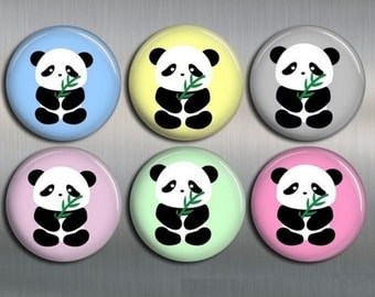 PANDA MAGNETS with gift pouch - Set of 6 - 1 inch or 1.25, Fridge Magnets