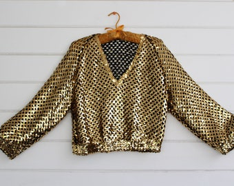Vintage 90s 80s Gold Sequins Top Womens Size S/M