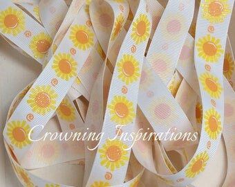 7/8 Sun Summer Splash Swim Flip Flop Lightly Glittered US Designer Ribbon