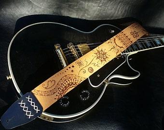 "Handmade beige leather guitar strap. ""Mescalito""."
