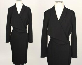 designer vintage dress • AVANT GARDE black wool 1980s dress