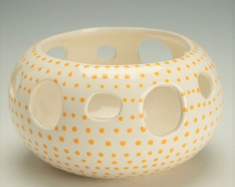 Bowl With Holes, Candy, Candle, Small Yarn Bowl, Potpourri Bowl, Candy Bowl, Candle Holder, Hand Painted Yellow / Orange Dots