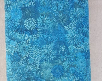 "Deep Aqua Blue Modern Floral 108"" wide back 100% cotton fabric"