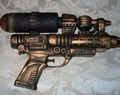 Large Steampunk Gun  With Open Belt Holster Gold Version