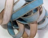 Silk Ribbon, Hand Dyed Silk Ribbon - Crinkle Ribbon, Jewelry Bracelet, Silk Wrist Wrap, Fairy Ribbon - Quintessence - Chesapeake Bay
