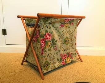Knitting Folding Basket Vintage Barkcloth Sewing