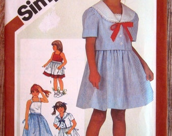 Vintage 1980s Little Girls Sailor Style Sundress and Unlined Jacket Size 4 Simplicity Pattern 5863 UNCUT