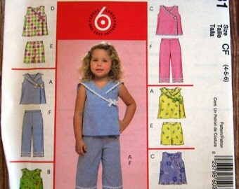 Easy to Sew Little Girls Summer Tops, Shorts and Capri Pants Sizes 4 5 6 McCalls Pattern M5031 UNCUT