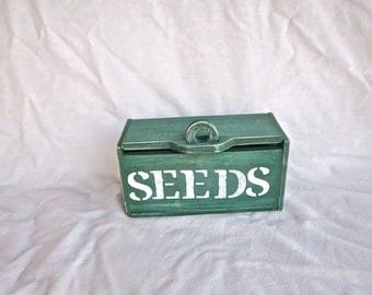 Handmade Seed Double Compartment Storage Box Vintage Painted Stenciled Seed Box Home and Garden Storage Utility Painted Seed Box