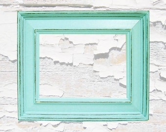 Shabby Chic Picture Frames Distressed Rustic Wood 5x7 Picture Frame Mint Green or Custom Colors Home Decor Wall Art Photography