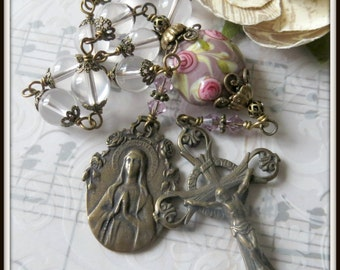Single Decade Rosary in Pink Quartz & Lampwork, Wire Wrapped in Bronze