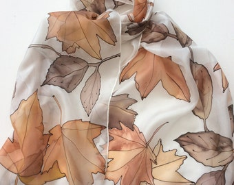 Autumn Leaves hand painted silk scarf.  Leaves silk scarf. hand painted silk scarves