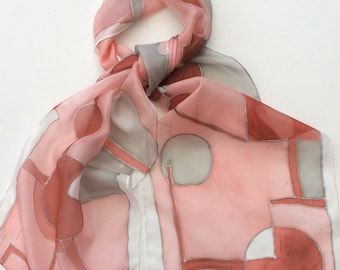 Terracotta and Grey shapes hand painted silk scarf size 25 x 150cm.  Silk Scarves. Terracotta scarf
