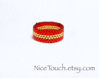 SUMMER SALE!!! Free Shipping or Save 20% ~ Harry Potter Gryffindor wide woven peyote beaded ring ~ Made to Order
