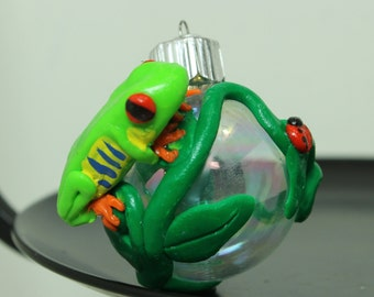 Red Eye Tree Frog  Mini glass ball Polymer clay Made To Order