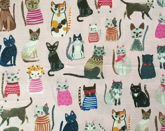Cat Fabric Hot Dogs and Cool Cats by Carolyn Gavin for Windham Fabrics in Pink GOTS Certified Organic Cotton