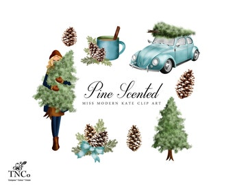 Christmas Clipart - Christmas Decoration - Car Clipart - Planner sticker clipart - Pine tree illustration - Commercial use Clip art - MK