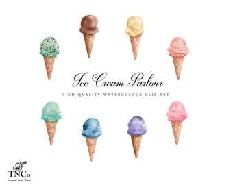 Summer clip art - Watercolour ice cream - Ice cream clip art - Invitation graphics - Commercial use digital clip art - Gelato clip art -