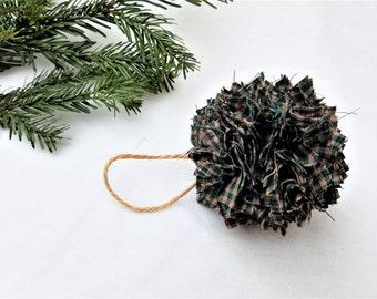 Rag Ball Christmas Ornament Primitive Rustic Farmhouse Country Plaid
