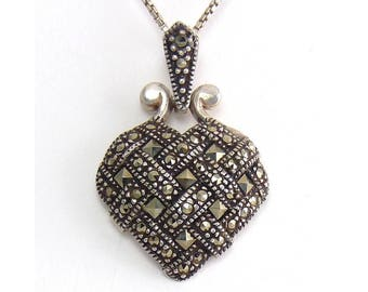 Sterling Silver Basket Weave Heart Pendant with Marcasites - Sterling Necklace, Square & Round Gems