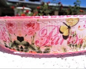 "Girl Dog Collar 1"" Quick Release buckle or Martingale collar adjustable Paris Rose"