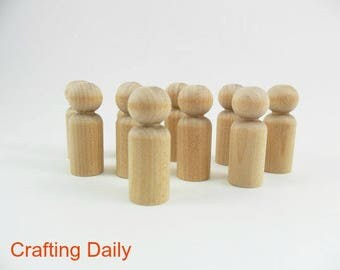 "Wood Peg Doll People Boy Small Man 1 11/16"" - 25 Pieces"
