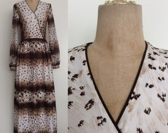 1970's Animal Print Polyester Maxi Dress w/ Sheer Sleeves Brown & White Vintage Maxi Dress Size Small Medium by Maeberry Vintage