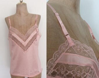 30% OFF 1980's Pink Nylon Lace Camisole Size Small Medium by Maeberry Vintage