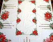 Vintage Printed Christmas Cotton Kitchen Tablecloth 53 x 62