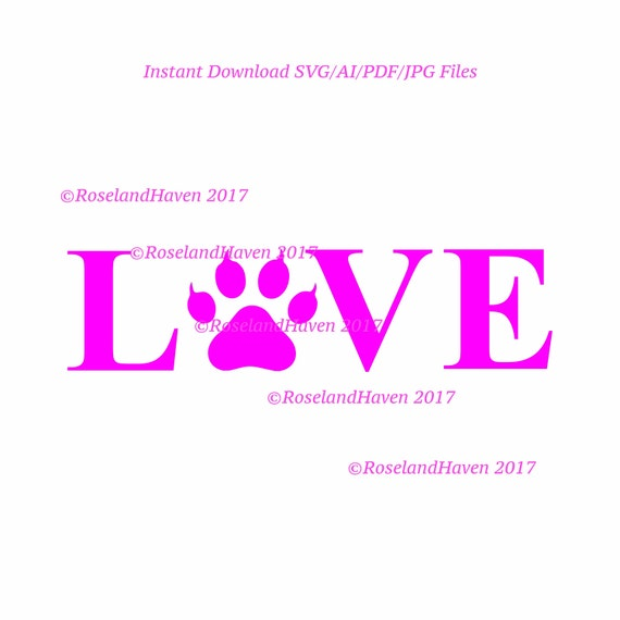 Download Love Paw print with Claws Horizontal Love Pawprint SVG File