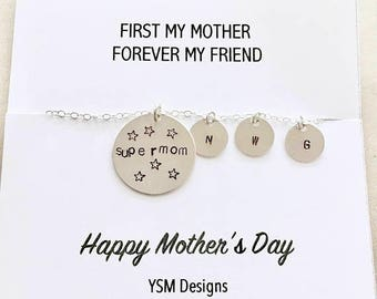 Mothers Day SALE Mother's Day Gift - Sterling Silver Super Mom Necklace, Mommy Necklace, Custom Gift for Mom, Children's Initials Necklace,