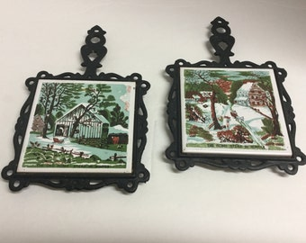 Vintage Cast Iron Tile Trivet Trivets The Home Stead in Winter Homestead The Old Home Stead in Winter