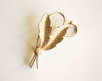 Large Leaf and Pearl Brooch