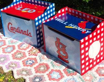 St Louis Cardinals Toy Box NFL MLB NBA Theme Toy Chest Baseball Football Basketball Team