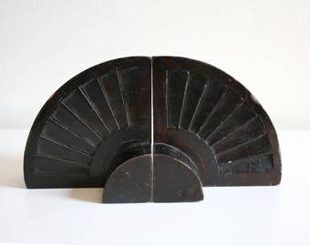 Wood Fan Bookends