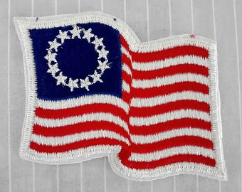 """Vintage Big 3.5"""" Sew On Betsy Ross Flag Patch, USA Bicentennial Patriotic Applique, Early American Flag, 4th July Collectible"""