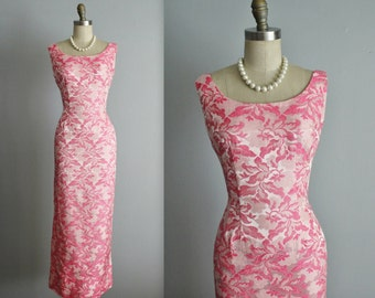 60's Evening Gown // Vintage 1960's Pink Floral Brocade Fitted Cocktail Party Column Dress Gown S