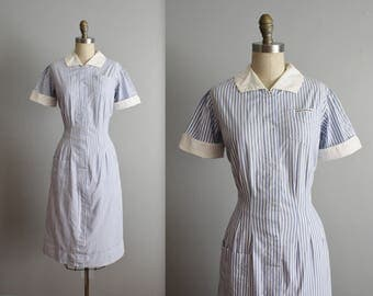 50's Striped Uniform Dress // Vintage 1950's Blue White Cotton Striped Waitress Maid Dress L