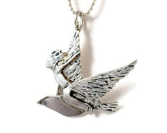Sterling Silver Bird Jewelry, Inspirational Silver Jewelry, Sterling Meaningful Jewelry, Robin Wade Jewelry, Finley Dreams Of Flying, 2313